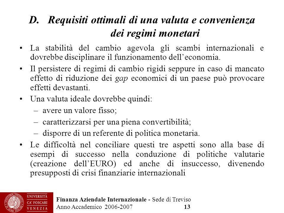 Finanza Aziendale Internazionale - Sede di Treviso Anno Accademico 2006-2007 13 D. Requisiti ottimali di una valuta e convenienza dei regimi monetari