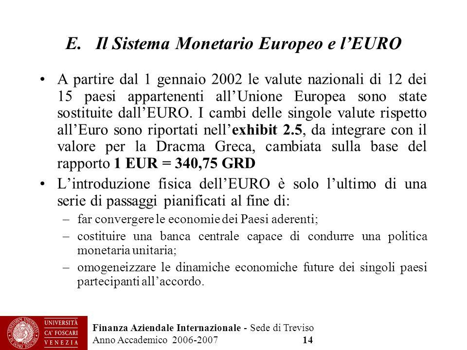 Finanza Aziendale Internazionale - Sede di Treviso Anno Accademico 2006-2007 14 E. Il Sistema Monetario Europeo e lEURO A partire dal 1 gennaio 2002 l