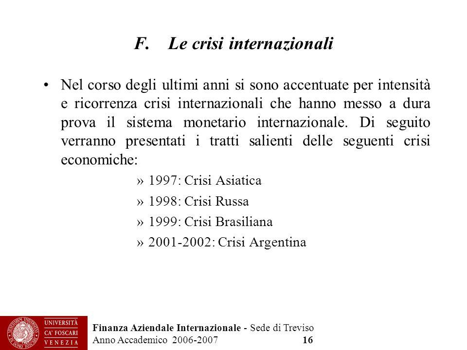 Finanza Aziendale Internazionale - Sede di Treviso Anno Accademico 2006-2007 16 F. Le crisi internazionali Nel corso degli ultimi anni si sono accentu