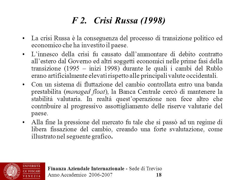 Finanza Aziendale Internazionale - Sede di Treviso Anno Accademico 2006-2007 18 F 2. Crisi Russa (1998) La crisi Russa è la conseguenza del processo d