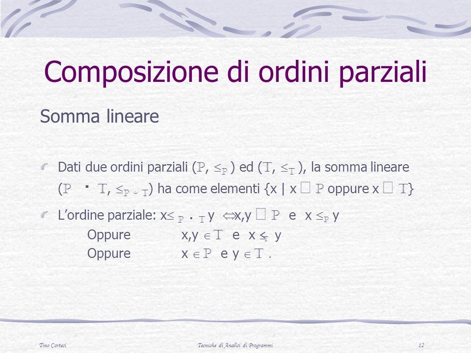 Tino CortesiTecniche di Analisi di Programmi 12 Composizione di ordini parziali Somma lineare Dati due ordini parziali ( P, p ) ed ( T, t ), la somma