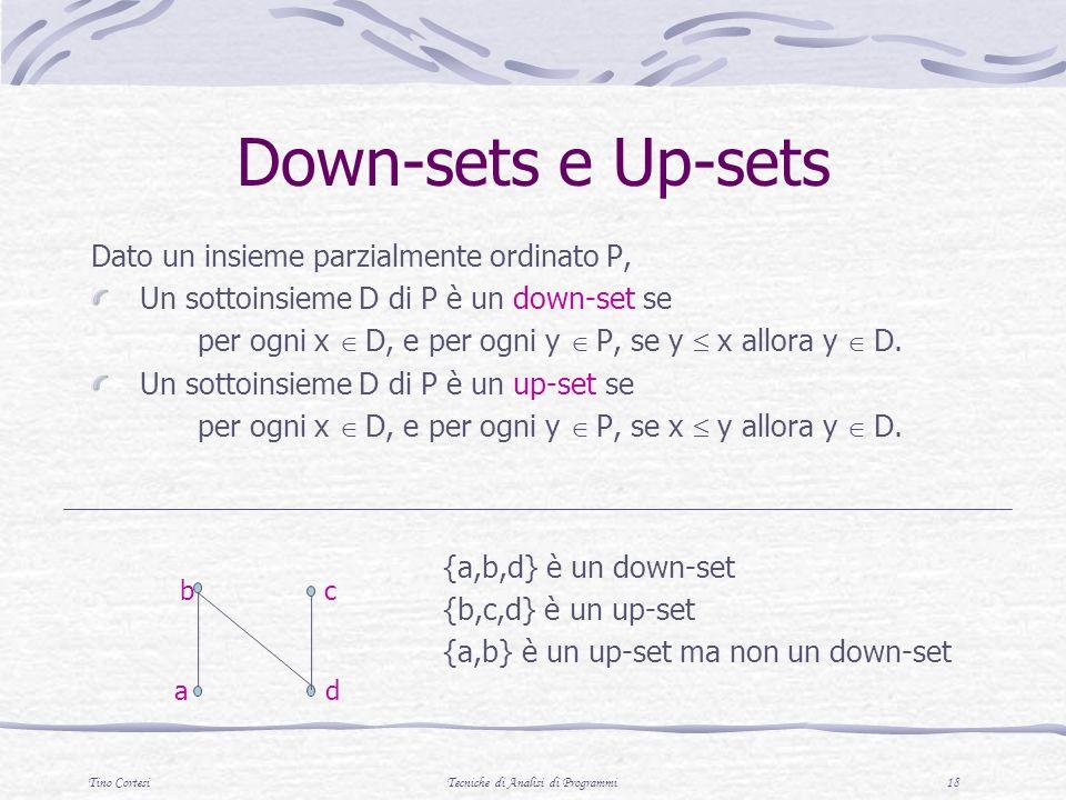 Tino CortesiTecniche di Analisi di Programmi 18 Down-sets e Up-sets Dato un insieme parzialmente ordinato P, Un sottoinsieme D di P è un down-set se p