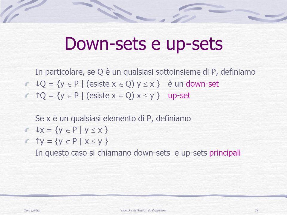 Tino CortesiTecniche di Analisi di Programmi 19 Down-sets e up-sets In particolare, se Q è un qualsiasi sottoinsieme di P, definiamo Q = {y P | (esist