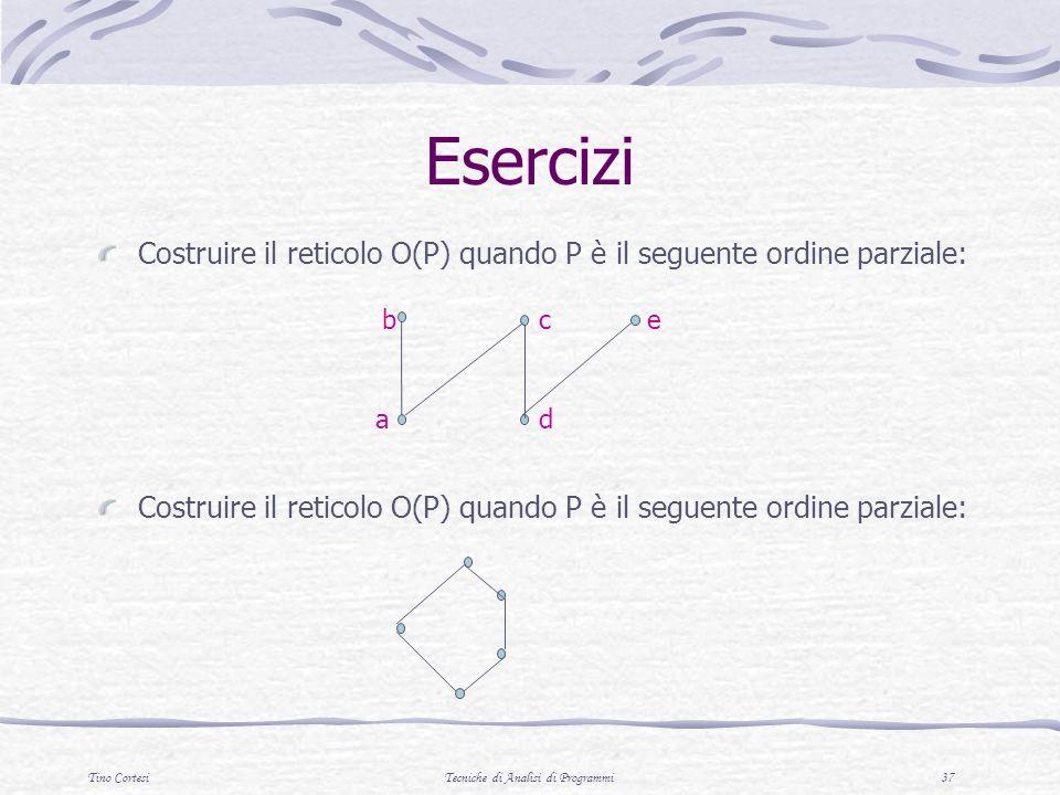 Tino CortesiTecniche di Analisi di Programmi 37 Esercizi Costruire il reticolo O(P) quando P è il seguente ordine parziale: c d b a e