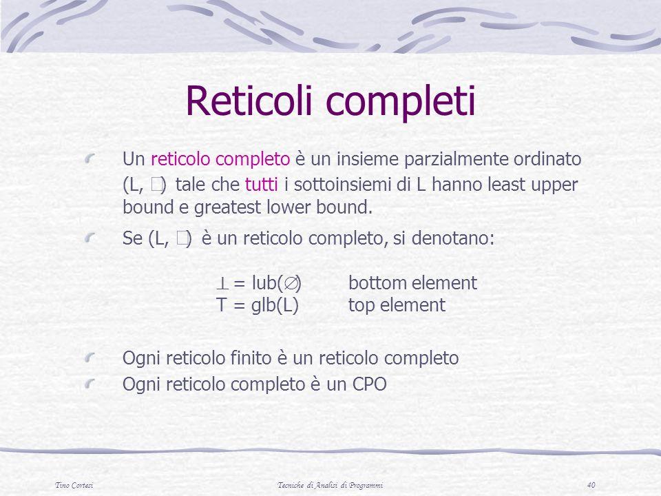 Tino CortesiTecniche di Analisi di Programmi 40 Reticoli completi Un reticolo completo è un insieme parzialmente ordinato (L, ) tale che tutti i sotto
