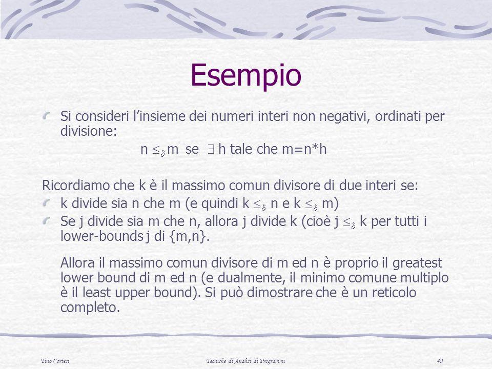 Tino CortesiTecniche di Analisi di Programmi 49 Esempio Si consideri linsieme dei numeri interi non negativi, ordinati per divisione: n m se h tale ch