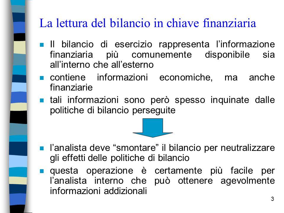3 La lettura del bilancio in chiave finanziaria n Il bilancio di esercizio rappresenta linformazione finanziaria più comunemente disponibile sia allin