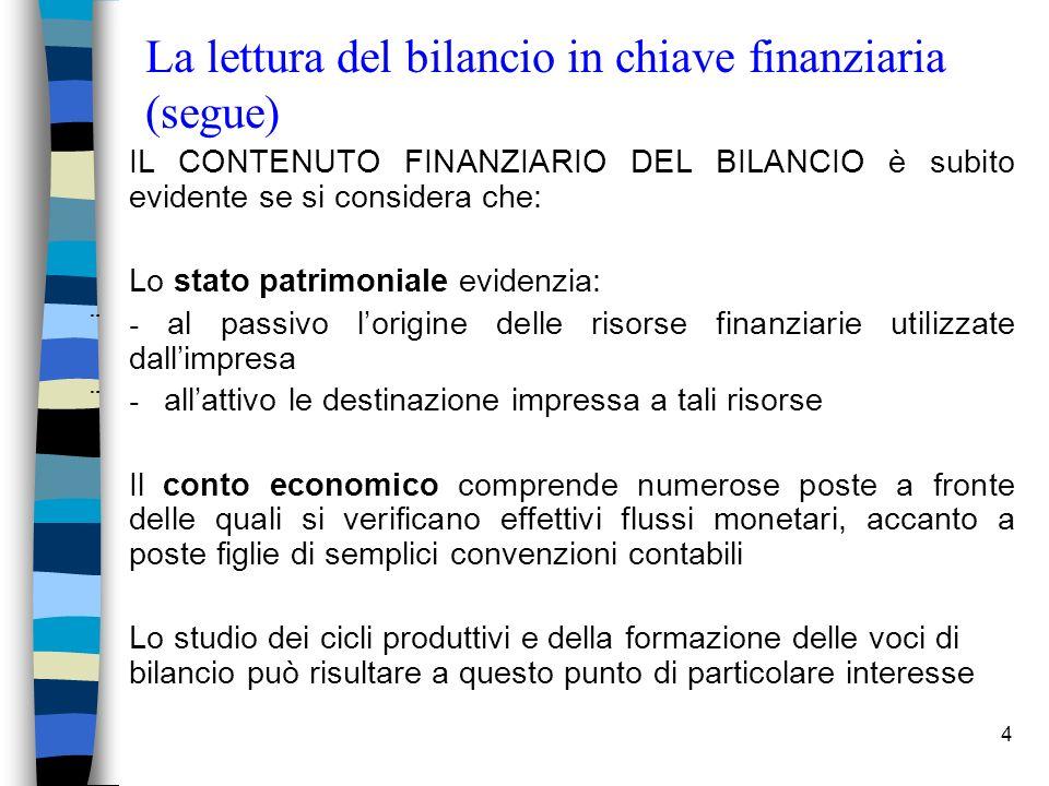 4 La lettura del bilancio in chiave finanziaria (segue) IL CONTENUTO FINANZIARIO DEL BILANCIO è subito evidente se si considera che: Lo stato patrimon