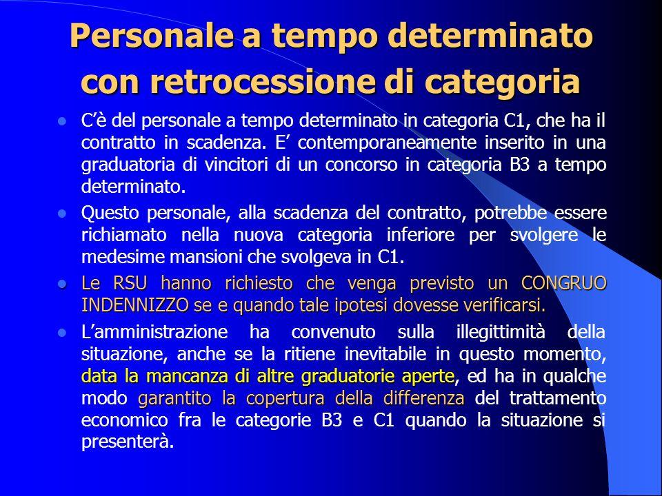 Personale a tempo determinato con retrocessione di categoria Cè del personale a tempo determinato in categoria C1, che ha il contratto in scadenza.