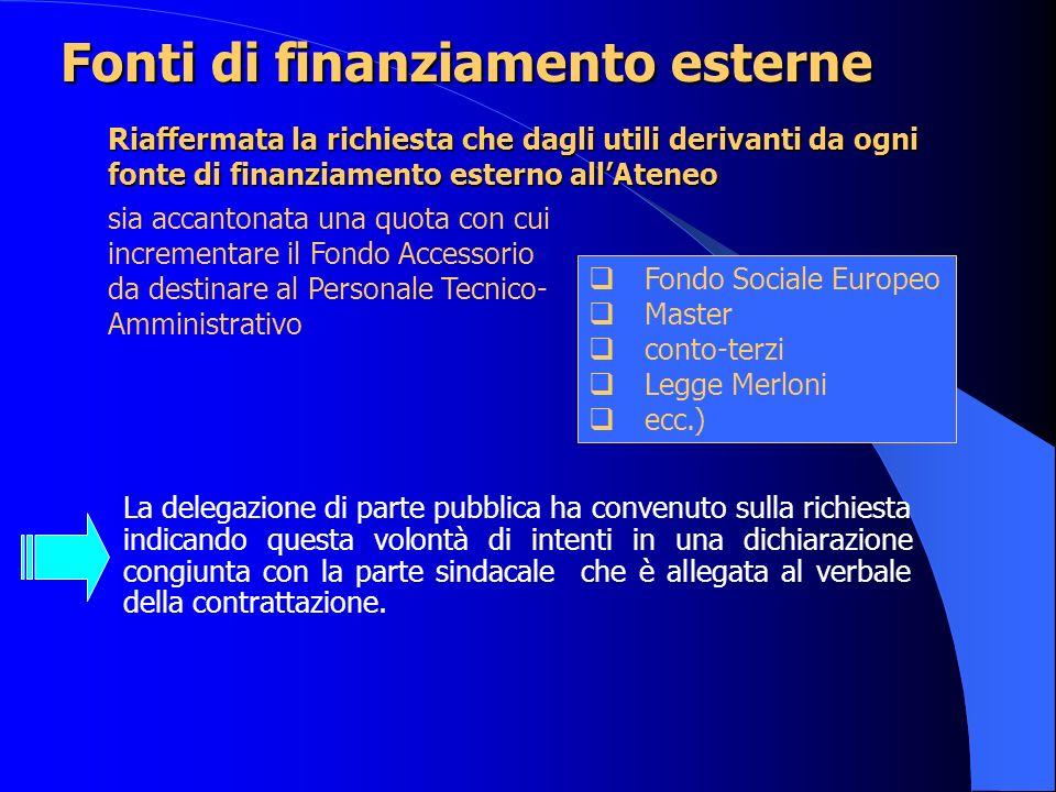 Fonti di finanziamento esterne La delegazione di parte pubblica ha convenuto sulla richiesta indicando questa volontà di intenti in una dichiarazione congiunta con la parte sindacale che è allegata al verbale della contrattazione.