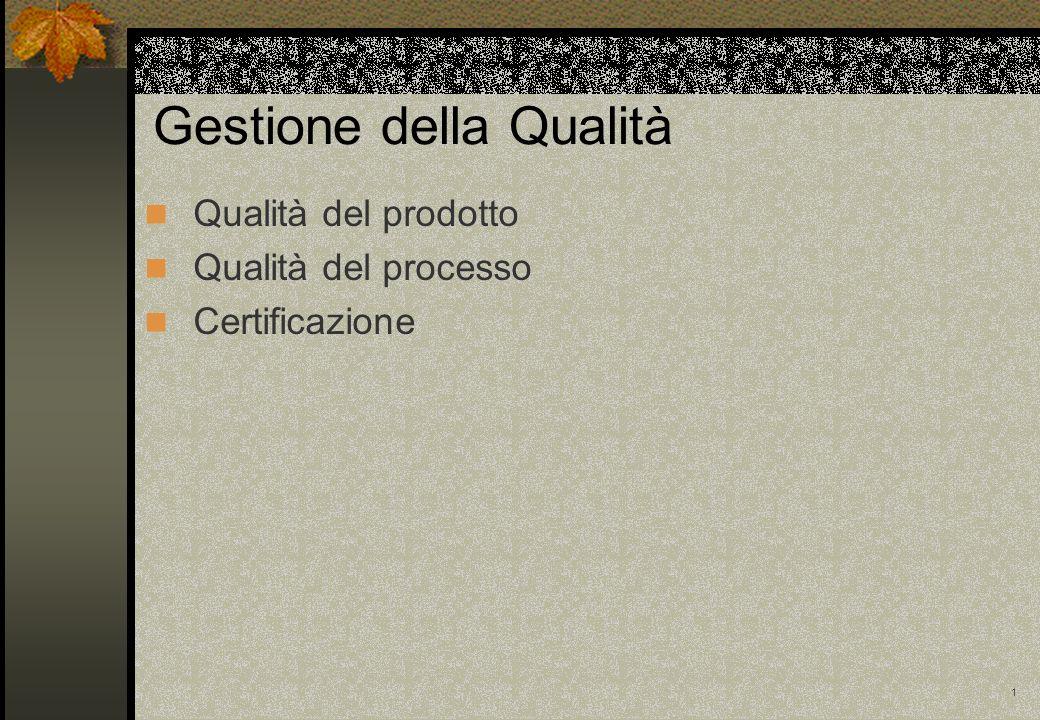 1 Gestione della Qualità Qualità del prodotto Qualità del processo Certificazione