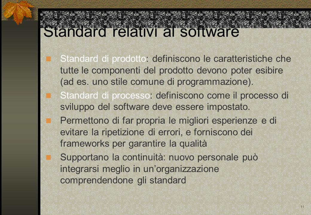 11 Standard di prodotto: definiscono le caratteristiche che tutte le componenti del prodotto devono poter esibire (ad es. uno stile comune di programm
