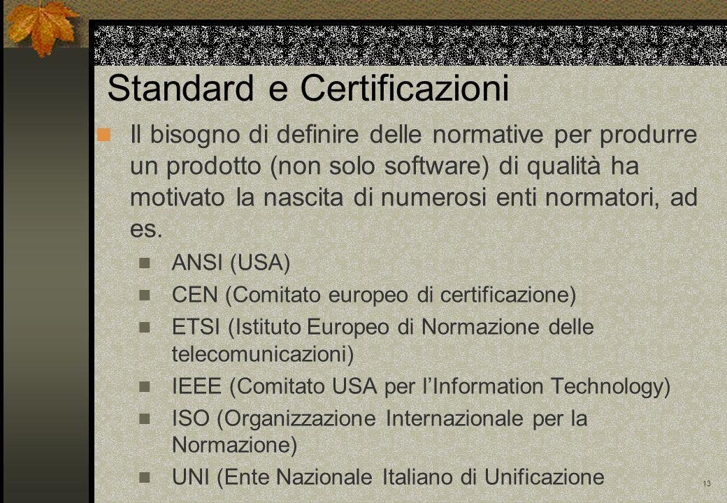13 Standard e Certificazioni Il bisogno di definire delle normative per produrre un prodotto (non solo software) di qualità ha motivato la nascita di