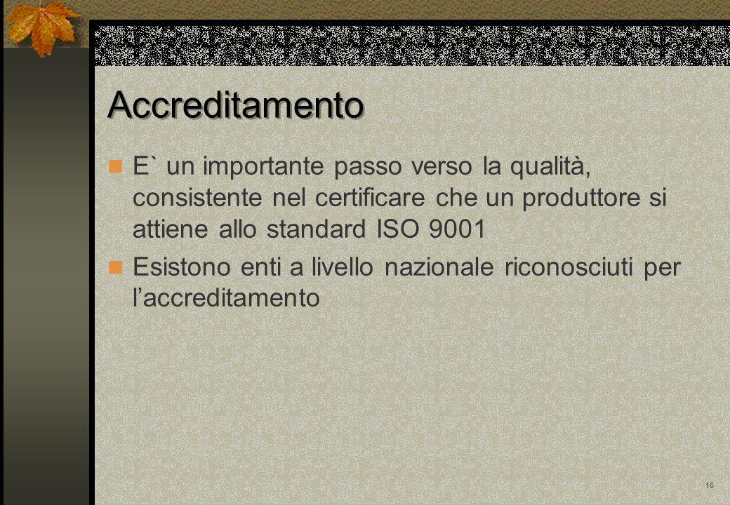 16 Accreditamento E` un importante passo verso la qualità, consistente nel certificare che un produttore si attiene allo standard ISO 9001 Esistono en