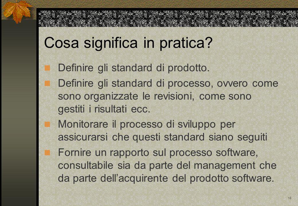 18 Definire gli standard di prodotto. Definire gli standard di processo, ovvero come sono organizzate le revisioni, come sono gestiti i risultati ecc.