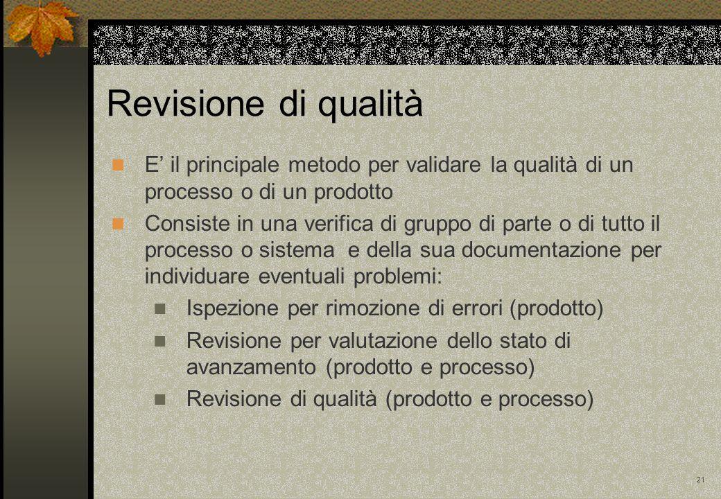 21 Revisione di qualità E il principale metodo per validare la qualità di un processo o di un prodotto Consiste in una verifica di gruppo di parte o d