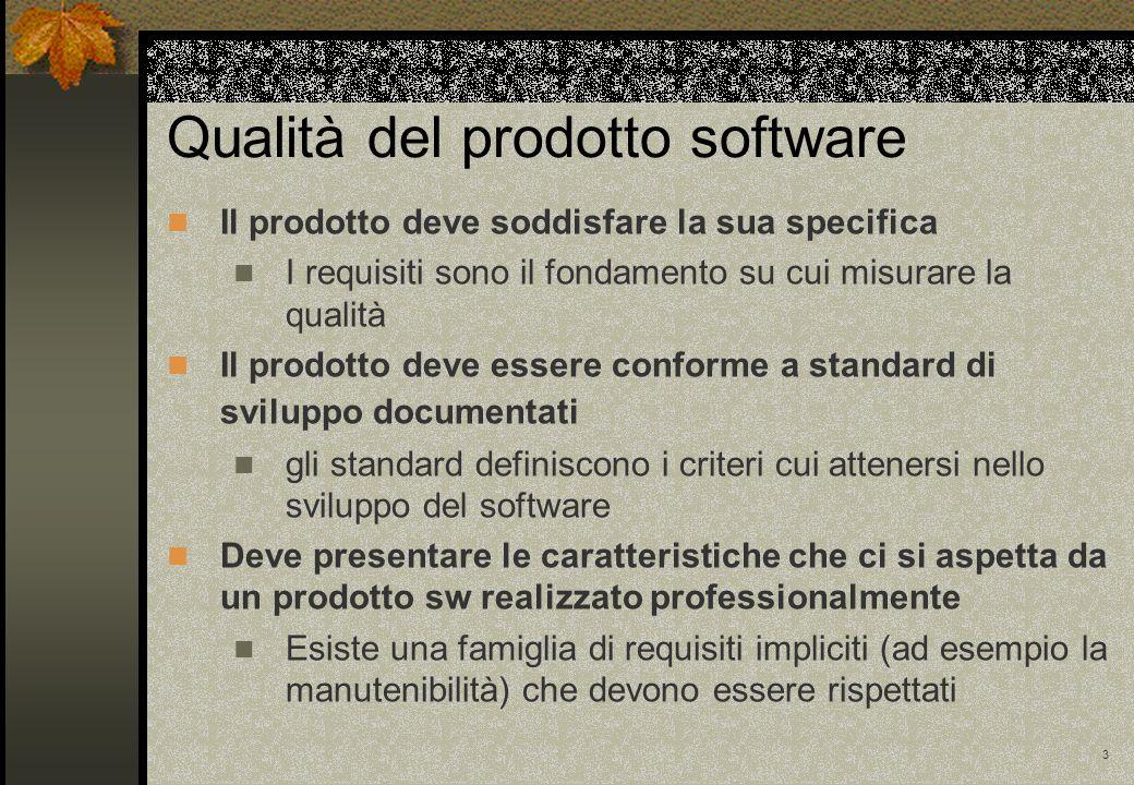 3 Qualità del prodotto software Il prodotto deve soddisfare la sua specifica I requisiti sono il fondamento su cui misurare la qualità Il prodotto dev