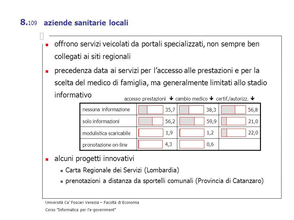 Università Ca Foscari Venezia – Facoltà di Economia Corso Informatica per le-government 8. 109 aziende sanitarie locali offrono servizi veicolati da p