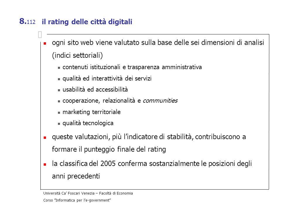 Università Ca Foscari Venezia – Facoltà di Economia Corso Informatica per le-government 8. 112 il rating delle città digitali ogni sito web viene valu
