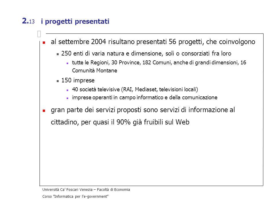 Università Ca Foscari Venezia – Facoltà di Economia Corso Informatica per le-government 2. 13 i progetti presentati al settembre 2004 risultano presen