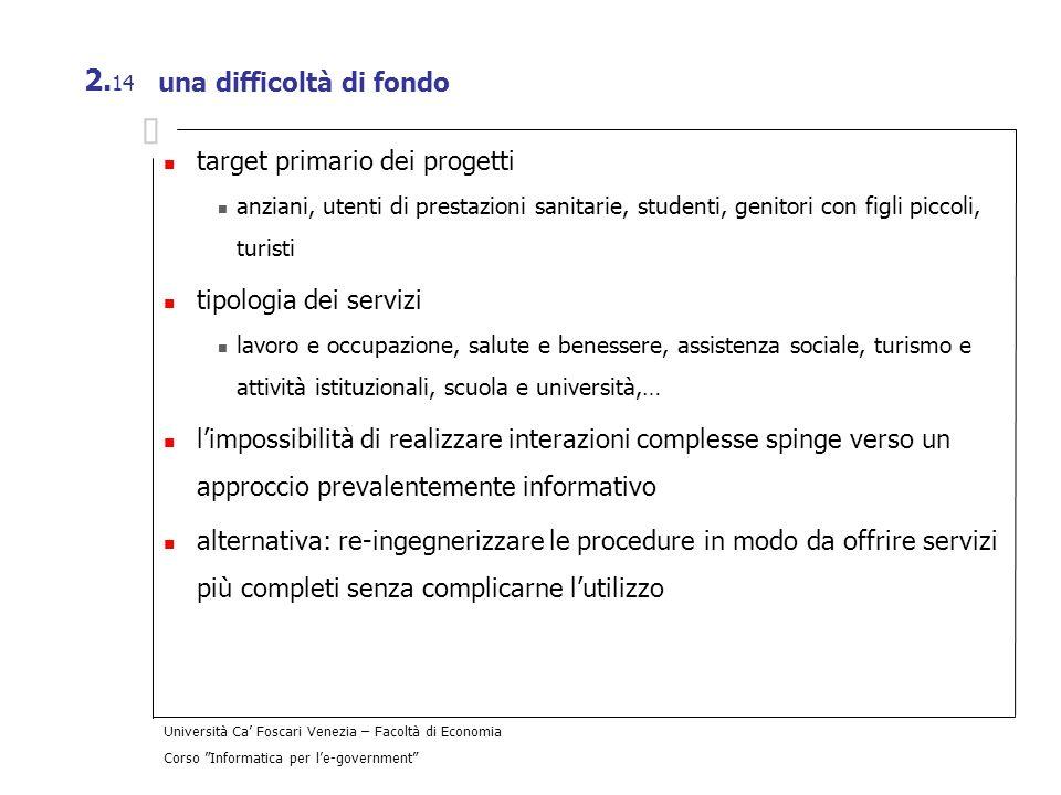 Università Ca Foscari Venezia – Facoltà di Economia Corso Informatica per le-government 2. 14 una difficoltà di fondo target primario dei progetti anz