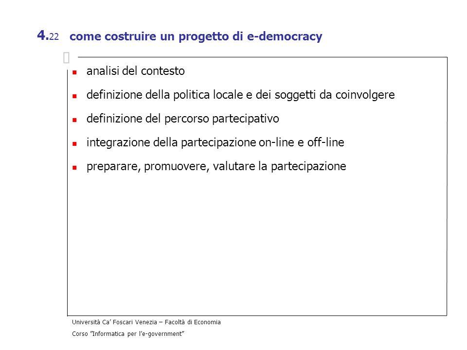 Università Ca Foscari Venezia – Facoltà di Economia Corso Informatica per le-government 4. 22 come costruire un progetto di e-democracy analisi del co