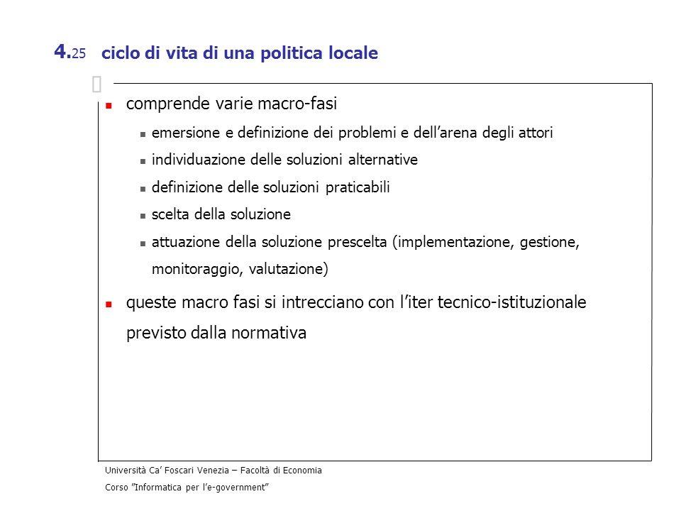 Università Ca Foscari Venezia – Facoltà di Economia Corso Informatica per le-government 4. 25 ciclo di vita di una politica locale comprende varie mac