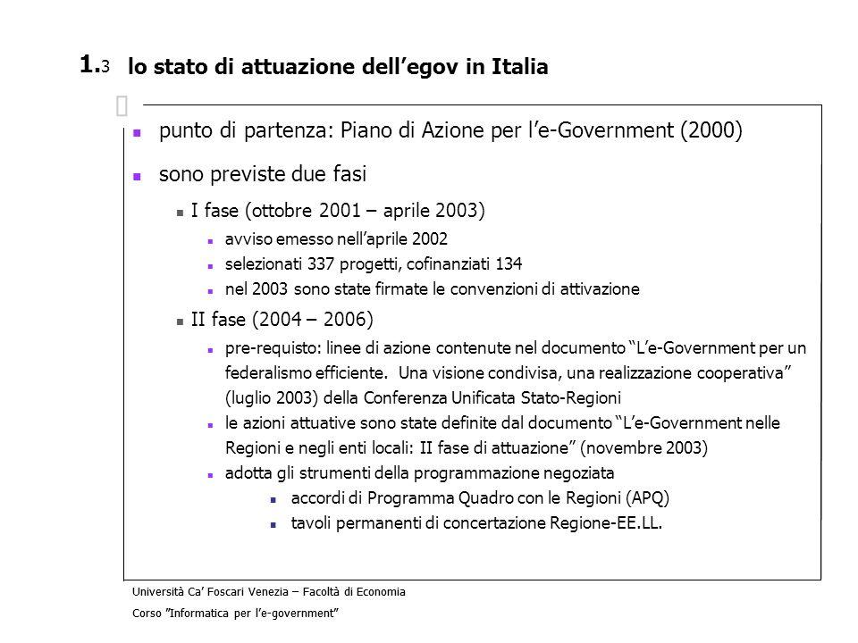 Università Ca Foscari Venezia – Facoltà di Economia Corso Informatica per le-government 2.