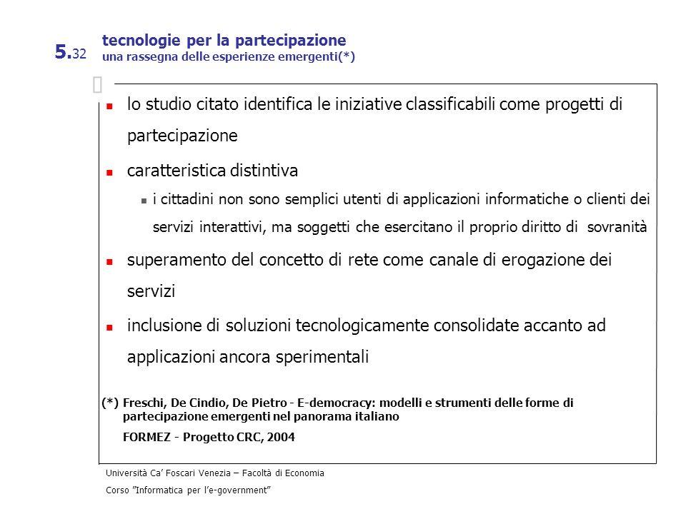 Università Ca Foscari Venezia – Facoltà di Economia Corso Informatica per le-government 5. 32 tecnologie per la partecipazione una rassegna delle espe