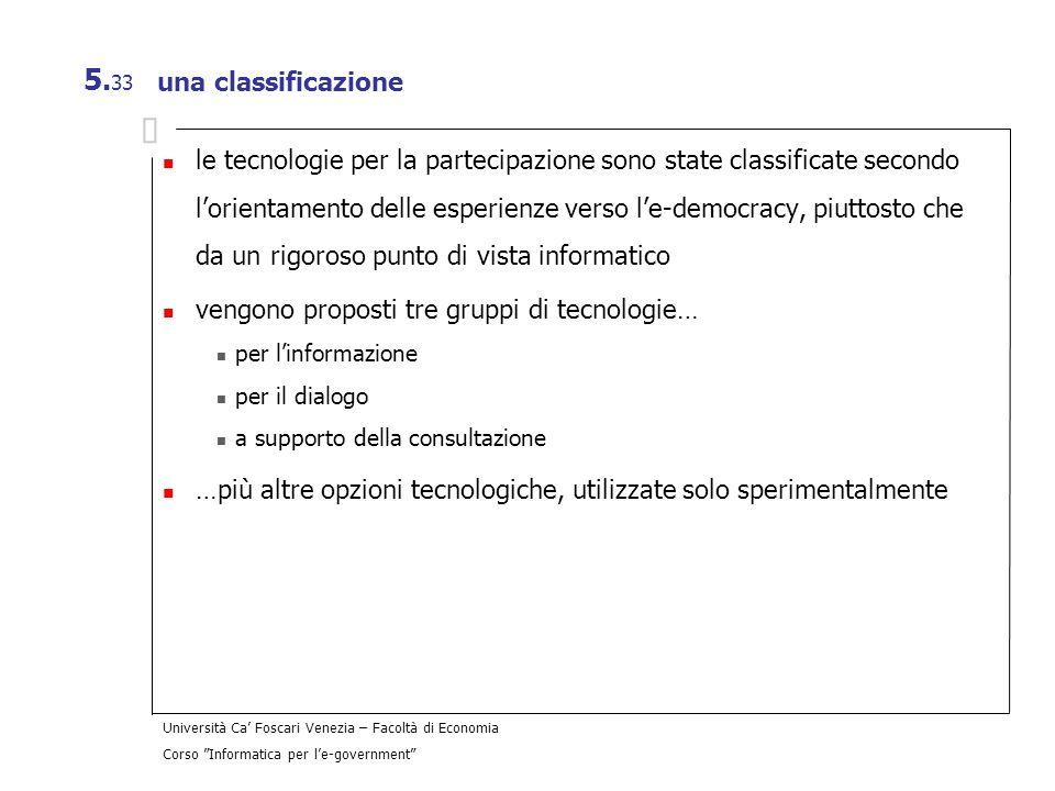 Università Ca Foscari Venezia – Facoltà di Economia Corso Informatica per le-government 5. 33 una classificazione le tecnologie per la partecipazione
