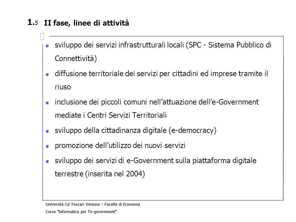 Università Ca Foscari Venezia – Facoltà di Economia Corso Informatica per le-government 3.