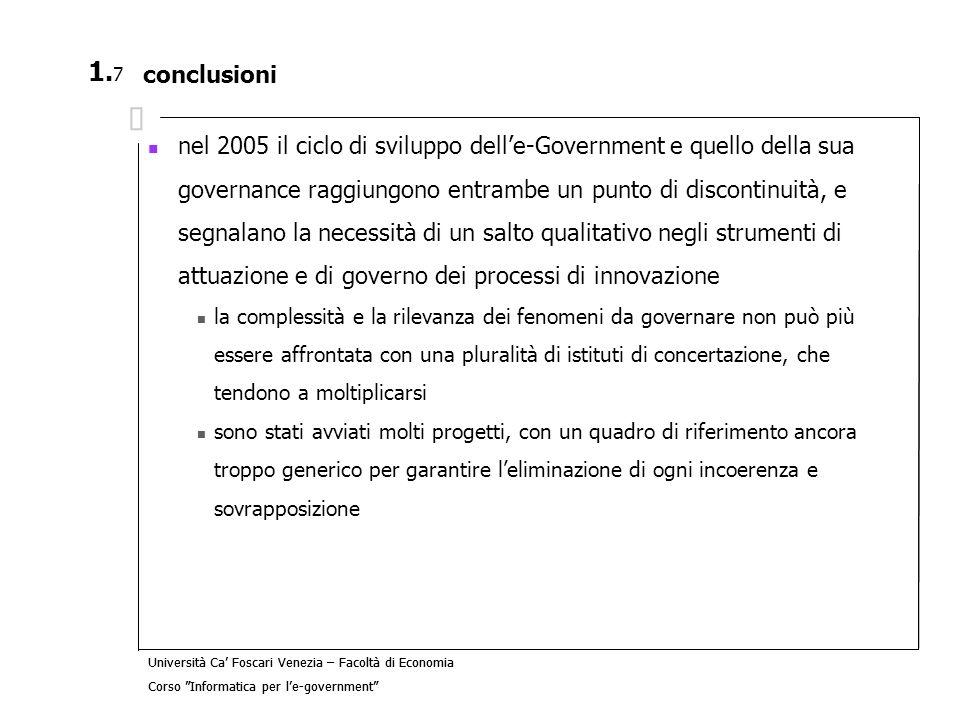 Università Ca Foscari Venezia – Facoltà di Economia Corso Informatica per le-government 5.