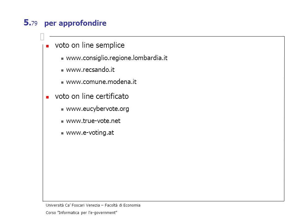 Università Ca Foscari Venezia – Facoltà di Economia Corso Informatica per le-government 5. 79 per approfondire voto on line semplice www.consiglio.reg
