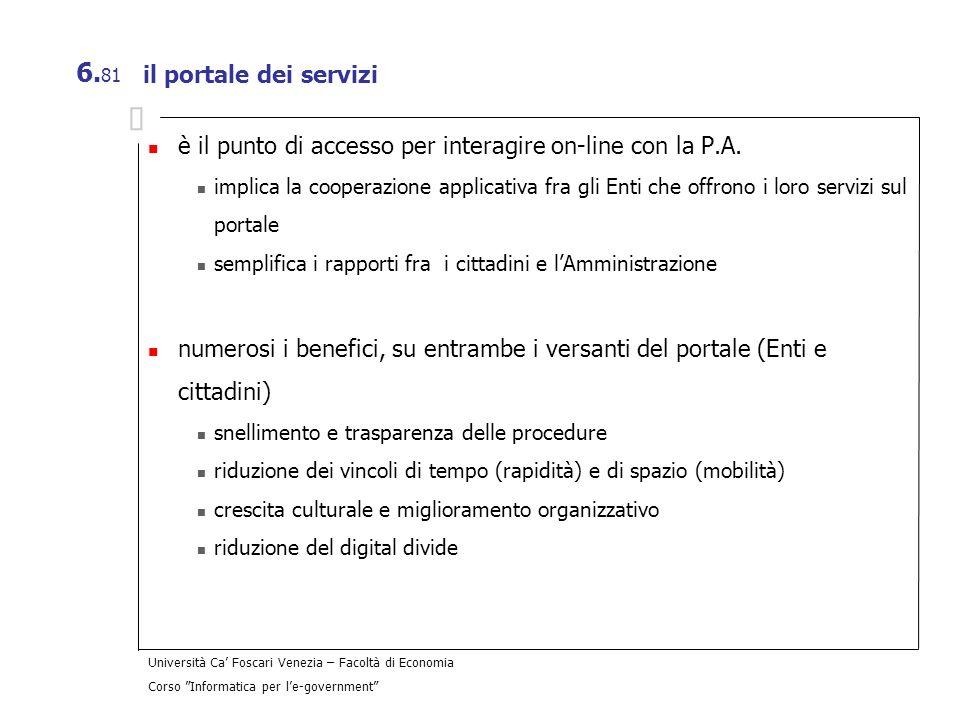 Università Ca Foscari Venezia – Facoltà di Economia Corso Informatica per le-government 6. 81 il portale dei servizi è il punto di accesso per interag