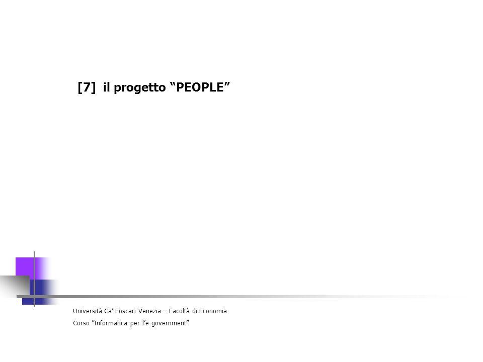 Università Ca Foscari Venezia – Facoltà di Economia Corso Informatica per le-government [7] il progetto PEOPLE