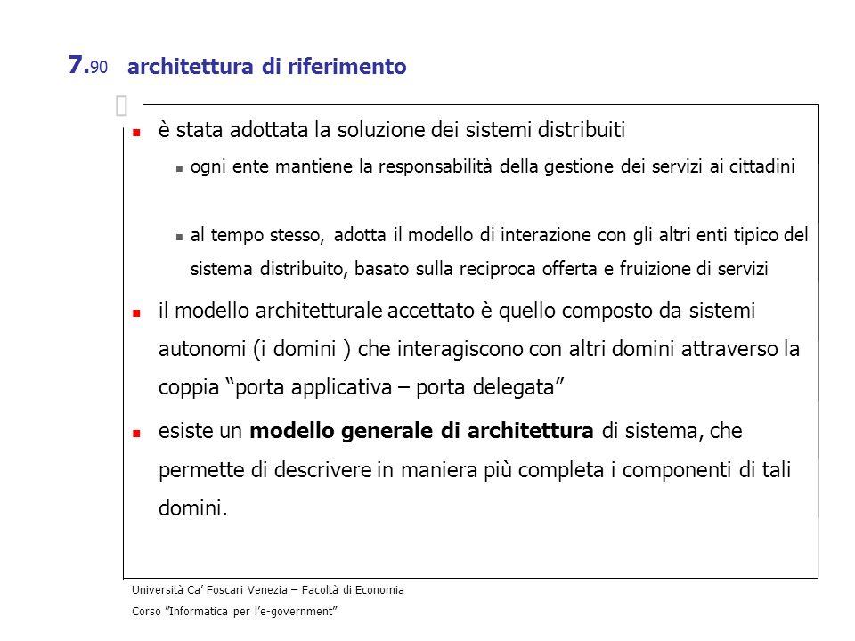 Università Ca Foscari Venezia – Facoltà di Economia Corso Informatica per le-government 7. 90 architettura di riferimento è stata adottata la soluzion