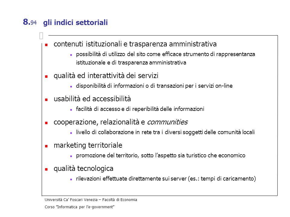 Università Ca Foscari Venezia – Facoltà di Economia Corso Informatica per le-government 8. 94 gli indici settoriali contenuti istituzionali e traspare