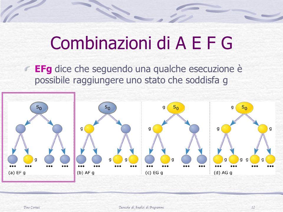 Tino CortesiTecniche di Analisi di Programmi 12 Combinazioni di A E F G EFg dice che seguendo una qualche esecuzione è possibile raggiungere uno stato che soddisfa g