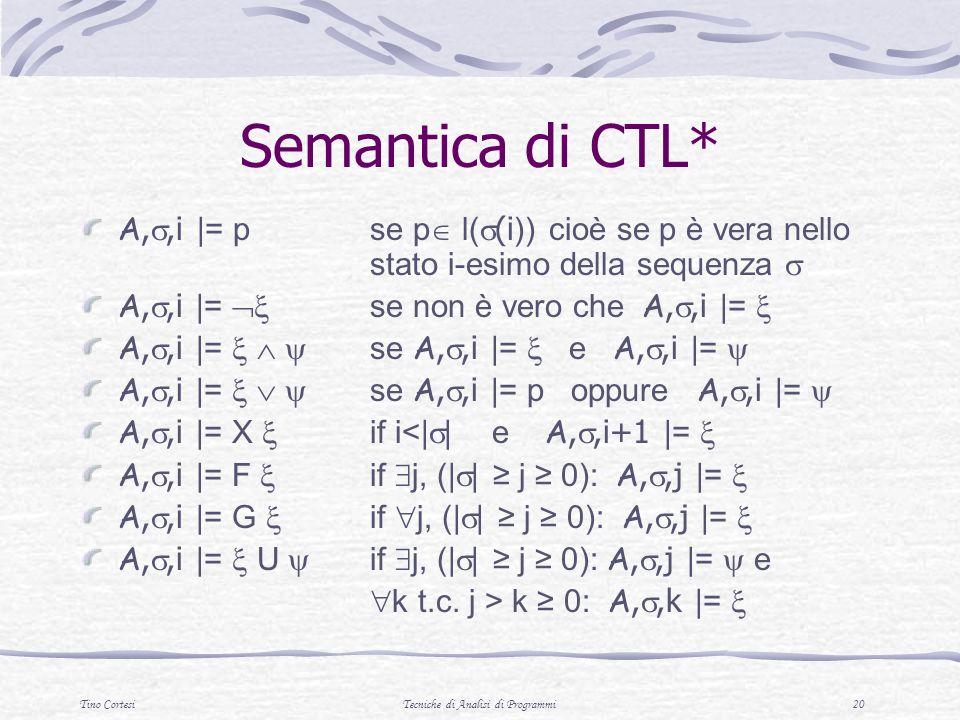 Tino CortesiTecniche di Analisi di Programmi 20 Semantica di CTL* A,,i |= p se p l( (i )) cioè se p è vera nello stato i-esimo della sequenza A,,i |= se non è vero che A,,i |= A,,i |= se A,,i |= e A,,i |= A,,i |= se A,,i |= p oppure A,,i |= A,,i |= X if i<| | e A,,i+1 |= A,,i |= F if j, (| | j 0): A,,j |= A,,i |= G if j, (| | j 0): A,,j |= A,,i |= U if j, (| | j 0): A,,j |= e k t.c.