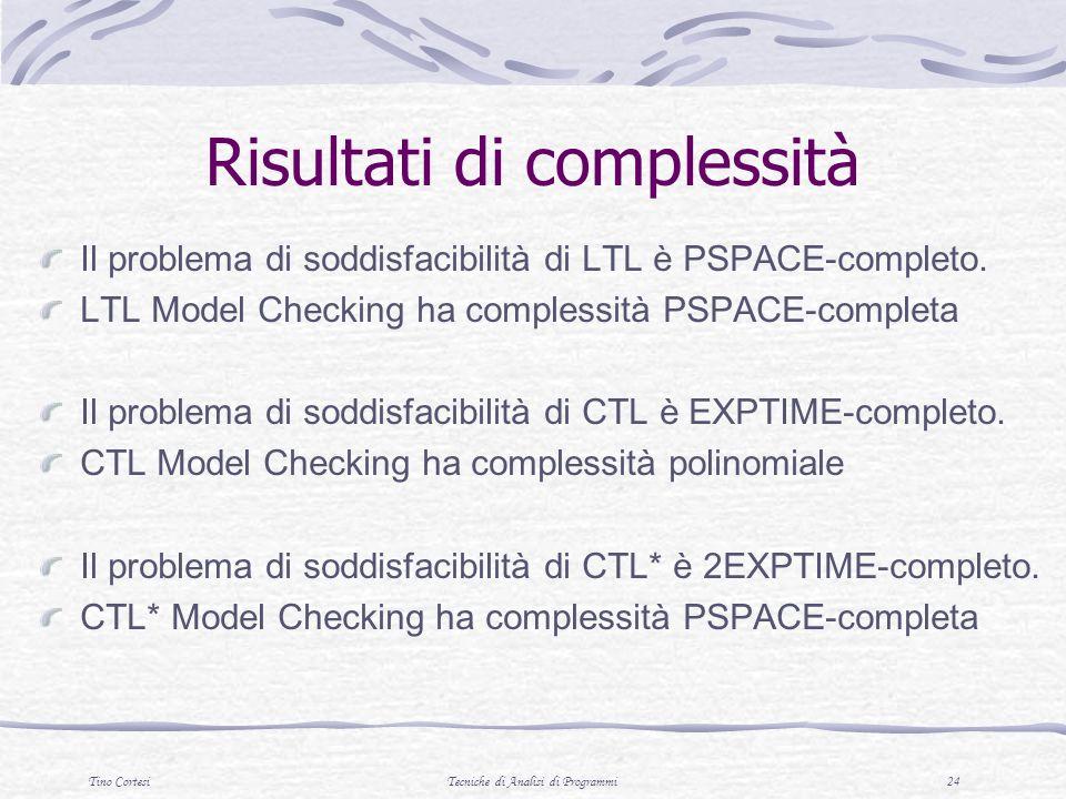 Tino CortesiTecniche di Analisi di Programmi 24 Risultati di complessità Il problema di soddisfacibilità di LTL è PSPACE-completo.