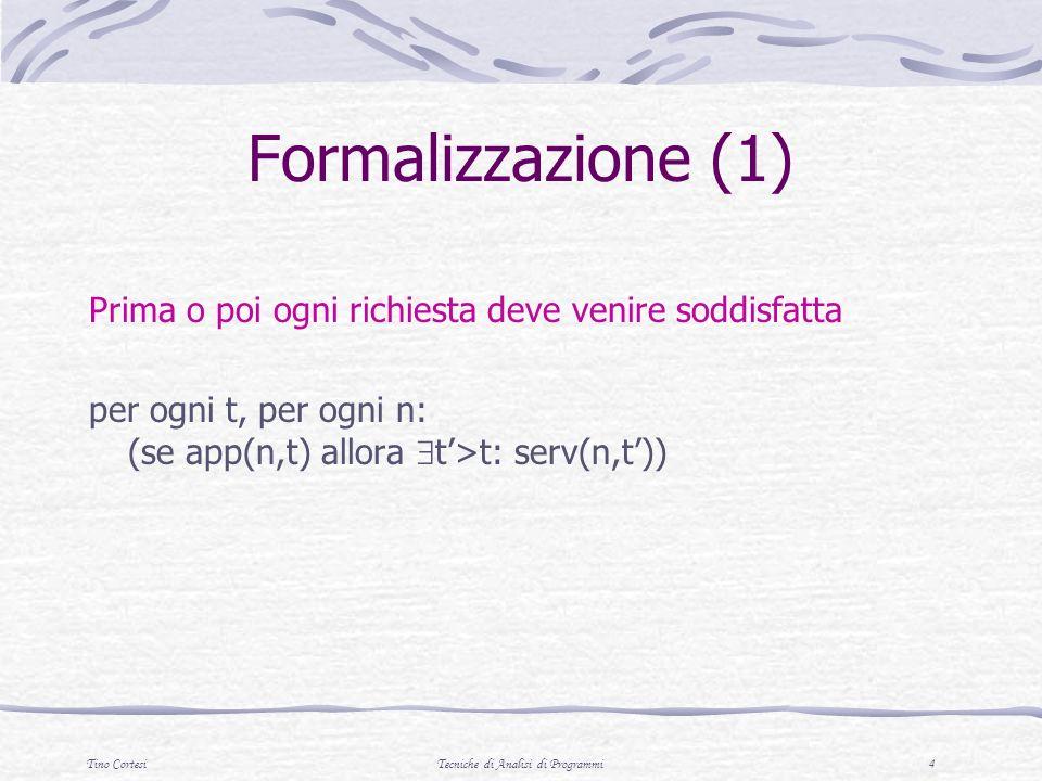 Tino CortesiTecniche di Analisi di Programmi 4 Formalizzazione (1) Prima o poi ogni richiesta deve venire soddisfatta per ogni t, per ogni n: (se app(n,t) allora t>t: serv(n,t))