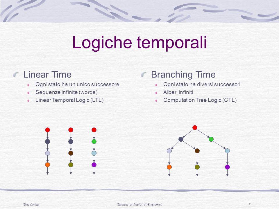 Tino CortesiTecniche di Analisi di Programmi 7 Logiche temporali Linear Time Ogni stato ha un unico successore Sequenze infinite (words) Linear Temporal Logic (LTL) Branching Time Ogni stato ha diversi successori Alberi infiniti Computation Tree Logic (CTL)