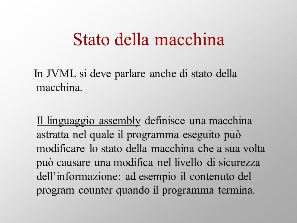 Stato della macchina In JVML si deve parlare anche di stato della macchina. Il linguaggio assembly definisce una macchina astratta nel quale il progra