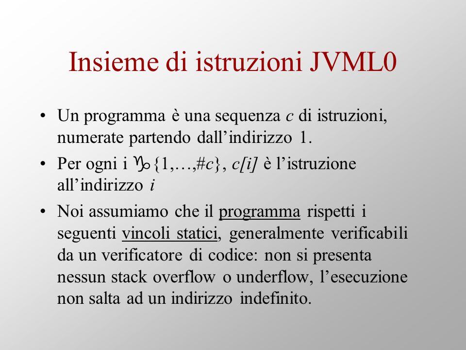 Insieme di istruzioni JVML0 Un programma è una sequenza c di istruzioni, numerate partendo dallindirizzo 1.