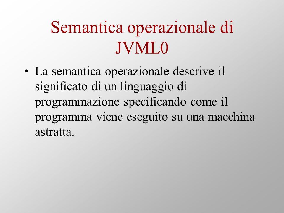 Semantica operazionale di JVML0 La semantica operazionale descrive il significato di un linguaggio di programmazione specificando come il programma viene eseguito su una macchina astratta.