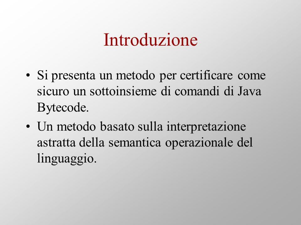 Introduzione Si presenta un metodo per certificare come sicuro un sottoinsieme di comandi di Java Bytecode.