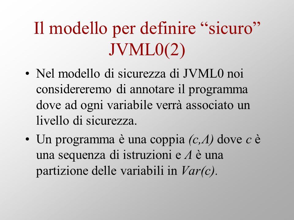 Il modello per definire sicuro JVML0(2) Nel modello di sicurezza di JVML0 noi considereremo di annotare il programma dove ad ogni variabile verrà associato un livello di sicurezza.