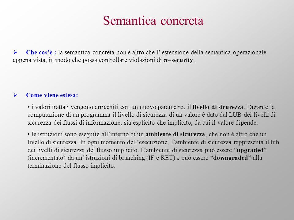 Semantica concreta Che cosè : la semantica concreta non è altro che l estensione della semantica operazionale appena vista, in modo che possa controllare violazioni di security.