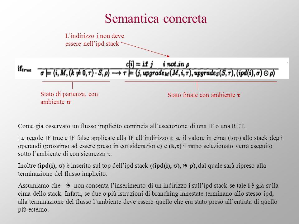 Semantica concreta Come già osservato un flusso implicito comincia allesecuzione di una IF o una RET. Le regole IF true e IF false applicate alla IF a