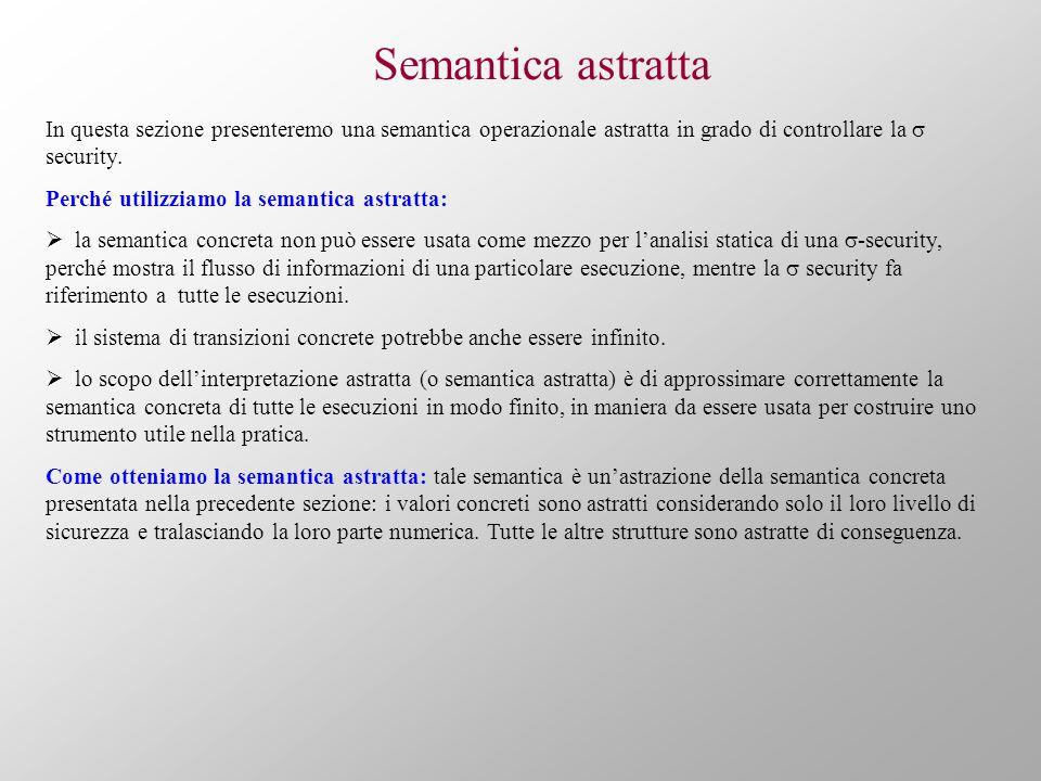 Semantica astratta In questa sezione presenteremo una semantica operazionale astratta in grado di controllare la security. Perché utilizziamo la seman